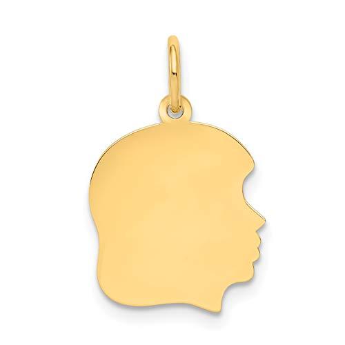 - 14k Yellow Gold Plain Medium .011 Gauge Facing Right Engravable Girl Head Charm (13 x 21 mm)