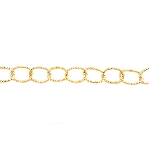 (BeadsOne - 6 ft - Aluminum Cable Oval Textured Gold Chain 24.5x18x2mm Tarnish Resistant Chain. Available by The Foot or Spool for Jewelry Making and Craft Supplies. (8312-06))
