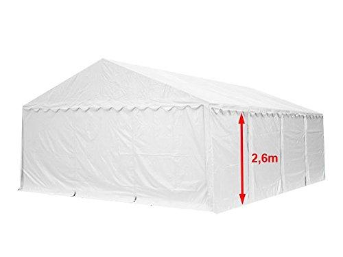 XXL Lagerzelt PROFESSIONAL 6x8m, hochwertige 550g/m² PVC Plane in weiß, vollverzinkte Stahlkonstruktion, Ø Stahlrohre ca. 50 mm, Seitenhöhe ca. 2,6 m