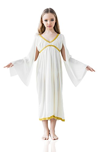 [Kids Girls Greek Goddess Halloween Costume Aphrodite Athene Dress Up & Role Play (6-8 years, white)] (Athena Greek Goddess Costume Child)
