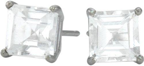 0.84tcw Genuine 4mm Square Princess White Topaz 14 Karat White Gold Stud Earrings for Girls
