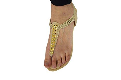 Kvinners Mote Besatt Gladiator Strappy Thong Sandaler T Stropp Roman Gladiator Sandaler 6390 Tan / Gull