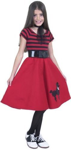 50s Poodle Skirt Teen Costumes (Child's Red Poodle Dress Costume Size: Youth X-Small 3-5)