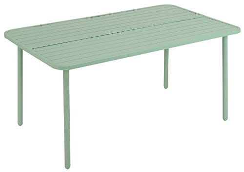 Outdoor Dining Table Garden Coffee Bistro Table 6 Person for Lawn Patio Pool Sturdy Metal Steel Frame Weather-Resistant Rectangle Table Green (1 Table)