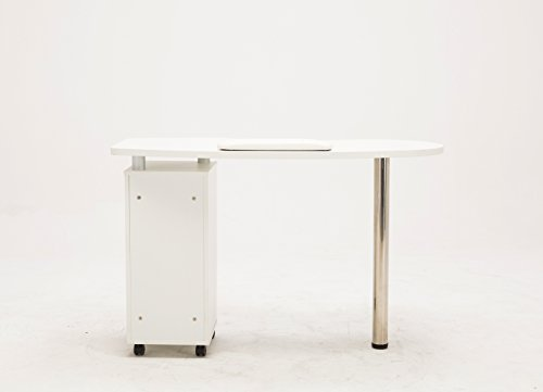 BarberPub White Manicure Nail Table Station Desk Spa Beauty Salon Nail Art Equipment 0411 by Barberpub (Image #4)