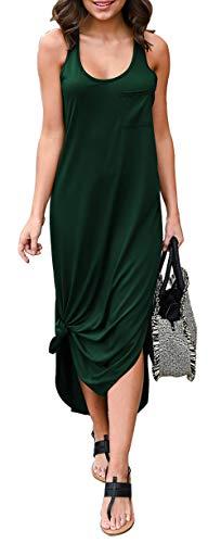 BTFBM Women Long Dress Sleeveless Tank Top Racerback Side Knot Hem Split Plain Maxi Dresses with Pocket (Green, Medium)