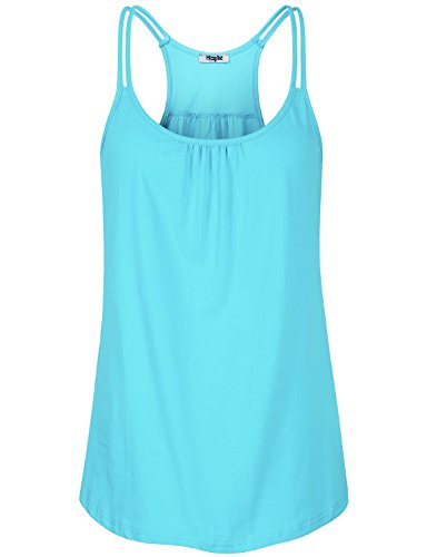 Hibelle Basic Tank Top Women, Juniors Running Shirts Summer Sleeveless Camisole Regular Fitness Exercise Racerback Tee Gym Cotton Breezy Stretch Athletic Cami Solid Light Blue XLarge