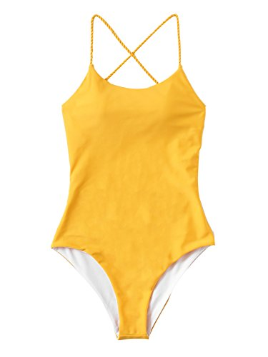 SweatyRocks Womens Sexy Bathing Suits Solid Color Criss Cross Open Back One Piece Swimwear