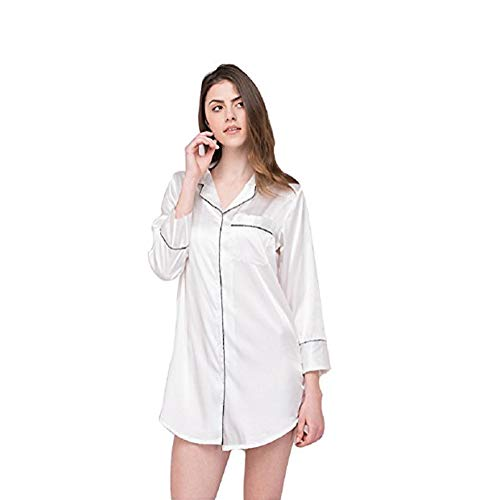 - SexyTown Womens Long Sleeve Sleepshirt Button-Front Nightshirts Pajama Top (X-Large, White)