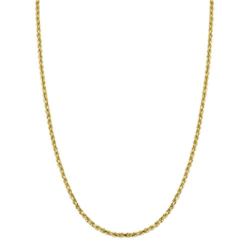 LoveBling 14K Yellow Gold 3mm 26'' Solid Diamond Cut Rope Chain Necklace with Lobster Lock by LOVEBLING (Image #1)
