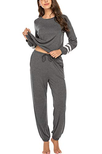 MAXMODA Damen Einfarbige Schlafanzug Pyjama Set, Zweiteiliger Modal Kurzarm Nachtwäsche Nachthemd Hausanzug S-XXL