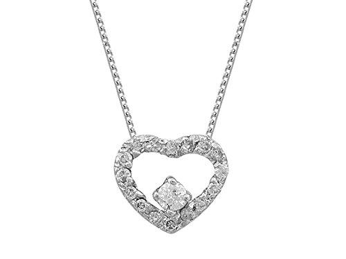 Pendentif Cœur de Diamants-Femme- or Blanc 215P0052