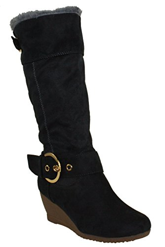 8c1cdbe9eca9 DbDk Women s Monicay-1 Faux Suede Round Toe Buckled Wedge Heel Mid-Calf  Boots
