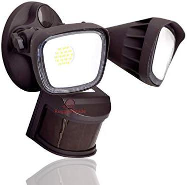 20 Watt LED Motion Sensor Flood Light – Bronze Color – Square Heads – 2400 Lumen – Super Wide 240 Degree Motion Sensor – 5000K Bright White -LED Security Wall Floodlight