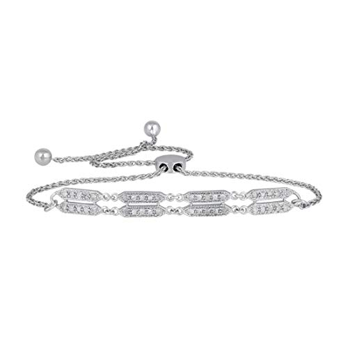 Pipa Bella Bracelet for Women in 925 Sterling Silver Line Natural Diamond Bracelet for Girls (I-J Color, I2-I3 Clarity)