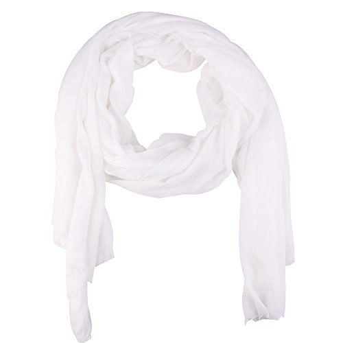 (Paladoo Solid Color Scarfs for Women Long Scarf Beach Wrap Shawls White)