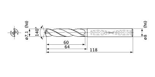 Internal Coolant 7.1 mm Cutting Dia Mitsubishi Materials MVS0710X05S080 Series MVS Solid Carbide Drill 5 Hole Depth 1.3 mm Point Length 8 mm Shank Dia.