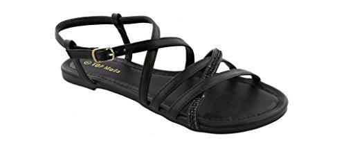 Top Moda Karen-5 Women's Ankle Strap Flat Sandal Rhinestones (9, Black) by Top Moda Brand