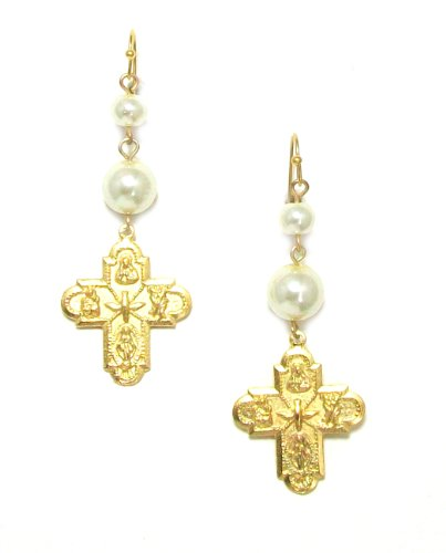 Susan Shaw Gold Plated Italian-Style Holy Family Cross with Glass Faux Pearls Dangle Earrings