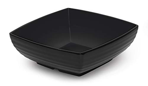 (G.E.T. Enterprises Black 2.5 qt. Square Bowl, Break Resistant Dishwasher Safe Melamine Plastic, Milano Collection ML-67-BK (Pack of 1))