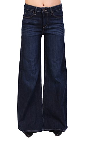 Just USA Jeans Women High Rise Flare Jeans with Whisker Detail 27 Dark Denim (Flare Jeans Wide)