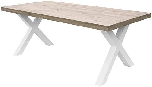 COMIFORT Mesa de Comedor - Mueble para Salon Oficina Despacho Robusto y Moderno de Roble Macizo Blanqueado, Patas de Acero X-Forma Blancas (120x75 cm): Amazon.es: Hogar