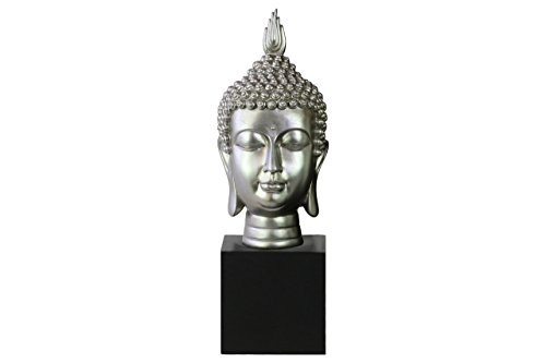 (Urban Trends Resin Buddha Head with Pointed Ushnisha on Base Gloss Finish Silver, Silver)