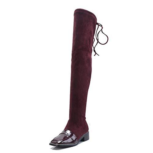 Botines con Punta Cuadrada de Mujer de tacón bajo elásticos Sobre la Rodilla, Rojo Vino, 34: Amazon.es: Zapatos y complementos