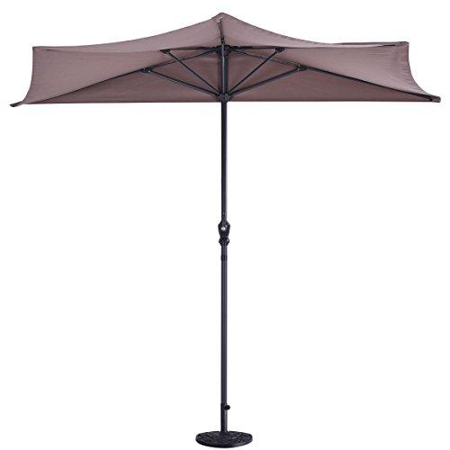 9Ft Half Round Umbrella Patio UV Protective Sunshade with 20' Half Round Umbrella Base Flower Antique Stand