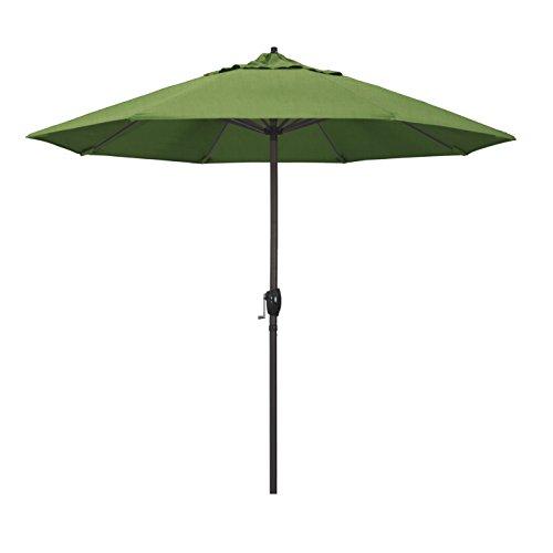 California Umbrella 9' Round Aluminum Market Umbrella, Crank Lift, Auto Tilt, Bronze Pole, Sunbrella Spectrum Cilantro ()