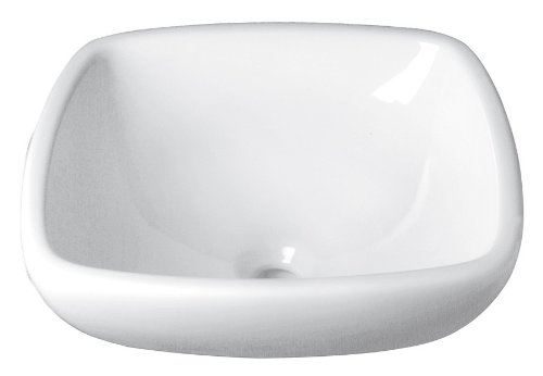 DECOLAV 1423-CWH Amalie Classically Redefined Square Vitreous China Semi-Recessed Vessel, White