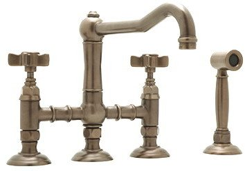 (Rohl A1458LMWSAPC-2 Country Bridge Kitchen Faucet with Spray Polished Chrome Lever)
