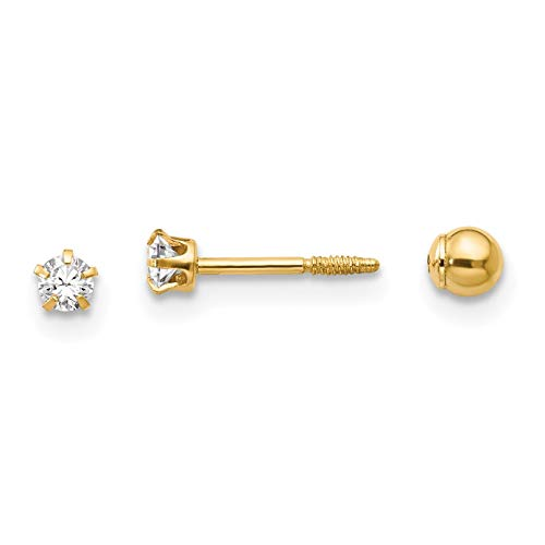 14K Yellow Gold Madi K Children's 3 MM Reversible Crystal and 3 MM Ball Screw Back Stud - Crystal 14k Reversible Gold