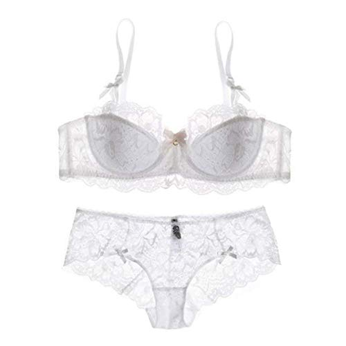 Womens Sexy Embroidery Balconette Bra and Soft Sheer Push up Bra Sets(White-40C) ()