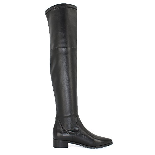 Thigh Stretch Snug Shoes Women's High Knee Boots the Black Casual Over Modemoven Boots Boots Heel Dress Leather Chunky Flats Sexy pnXgWF