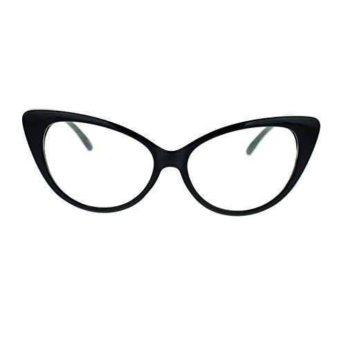 [Womens Goth Mod Chic Classic Retro Cat Eye Optical Glasses Black] (Clear Cat Eye Glasses)