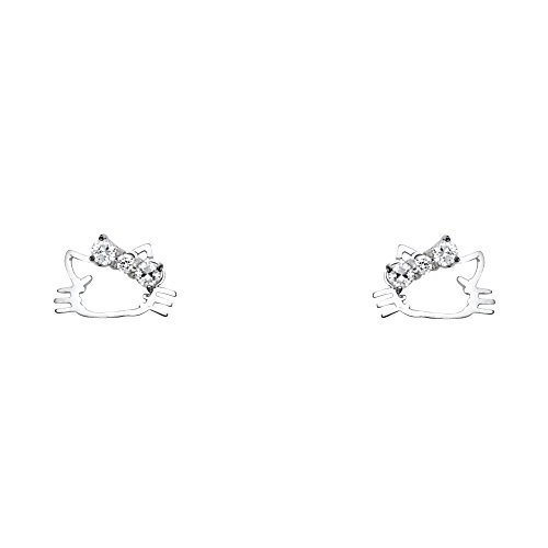 FB Jewels 14K White Gold Cat Cubic Zirconia CZ Womens Stud Earrings With Screw Backs