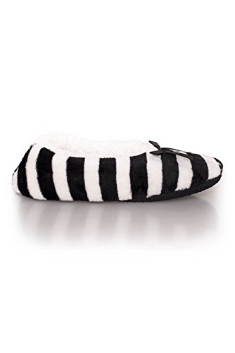Ballet Striped Slippers (ICONOFLASH Women's Striped Ballet Style Slippers with Sherpa Lining, (Medium/Large, 8-10 US))