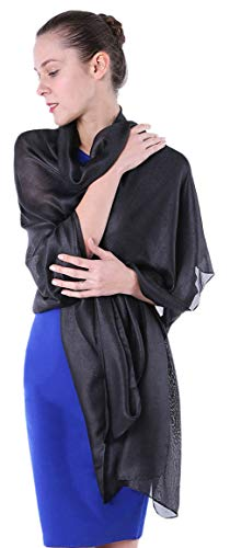 Black Shawl and Wrap Scarf for Women Dressy Shawl for Evening Gown