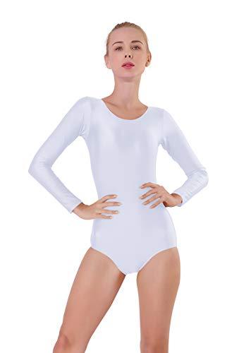 - Kepblom Women Basic Long Sleeve Leotard Scoop Neck Spandex Lycra Ballet Dance Bodysuit