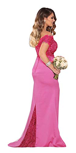 Fanciest Women's Lace Bridesmaid Dresses Long 2019 Formal Mermaid Maid of Honor Gowns US16 Hot Pink