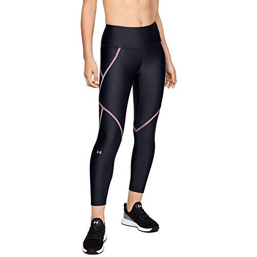 - Under Armour Women's HeatGear Armour Edgelit Ankle Crop Leggings, Black (001)/Metallic Silver, Large