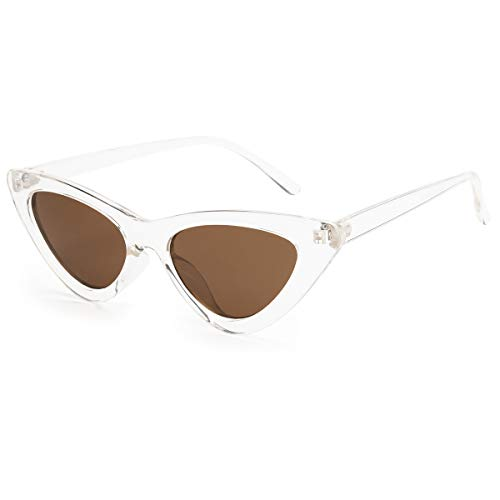 Livhò Retro Vintage Narrow Cat Eye Sunglasses for Women Clout Goggles Plastic Frame (Clear brown)