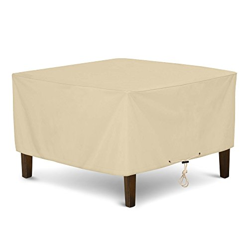 SunPatio Outdoor Ottoman Cover, Square Coffee Table Cover, Heavy Duty Waterproof Patio Furniture Side Table Cover, All Weather Protection, 32″ L x 32″ W x 18″ H, Beige