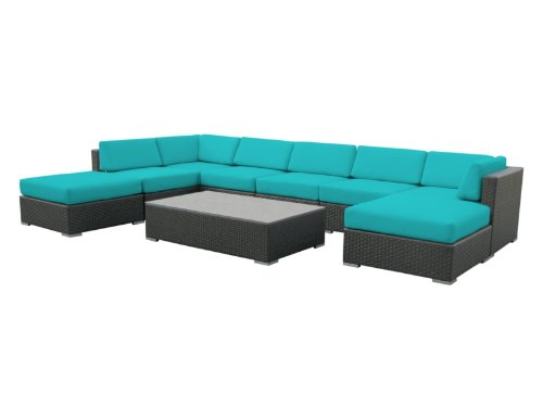 Luxxella Outdoor Patio Wicker MALLINA Sofa Sectional Furniture 9pc All Weather Couch Set TURQUOISE