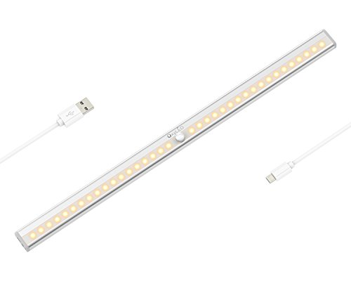 OxyLED Motion Sensor Closet Lights Under Cabinet Lighting, USB Rechargeable, Stick-on Anywhere Wireless Wardrobe Light Bar, Security Light for Kitchen, Stairs, Closet, 36 LEDs, T-02 Plus, Warm Light by OxyLED