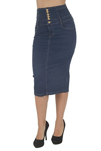 Stretch Denim Pencil Skirt - Fashion2Love N925A-SKT – Women's Juniors Below Knee Length Midi Pencil High Waist Denim Skirt in Blue Size 3XL