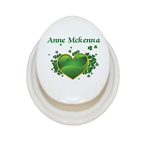 Style In Print Personalized Custom Text Love Green Heart Clovers Irish Luck Porcelain Treasure Box Porcelain Jewerly Box - - Necklace Oval Porcelain