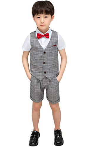 Leisure Suit Shirt - 4 Pieces Boy Summer Wedding Leisure Suit Vest Shirt Short with Bowtie Size 4T Gray 100cm ( Tag 9)