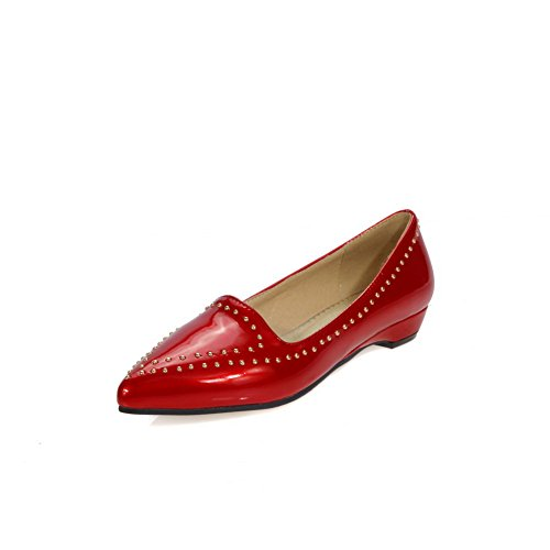AdeeSu Womens No-Closure Solid Urethane Slip-Resistant Urethane Loafers Shoes SDC03654 Red YJngYT